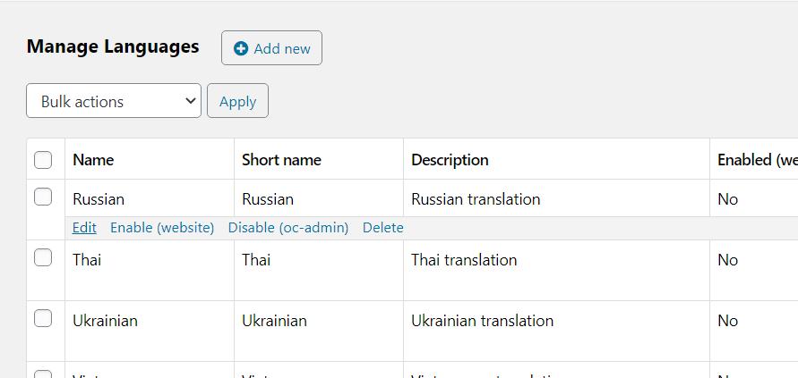 Classifieds script osclass - manage languages