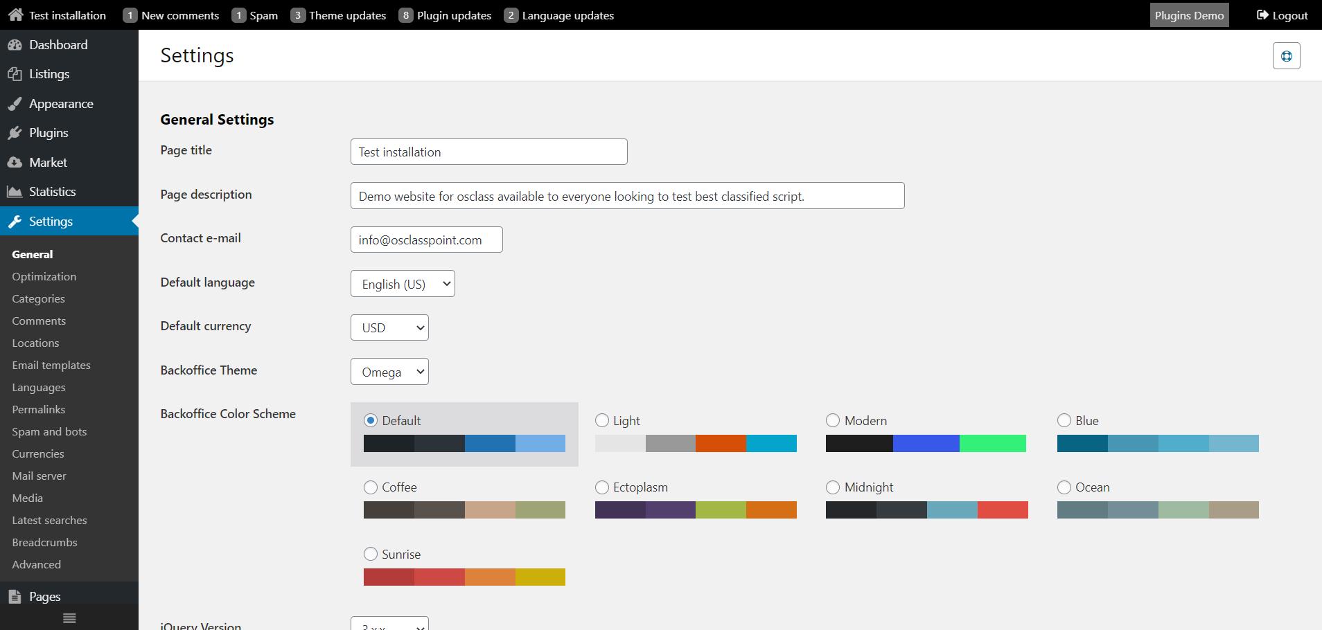 Default osclass admin color scheme
