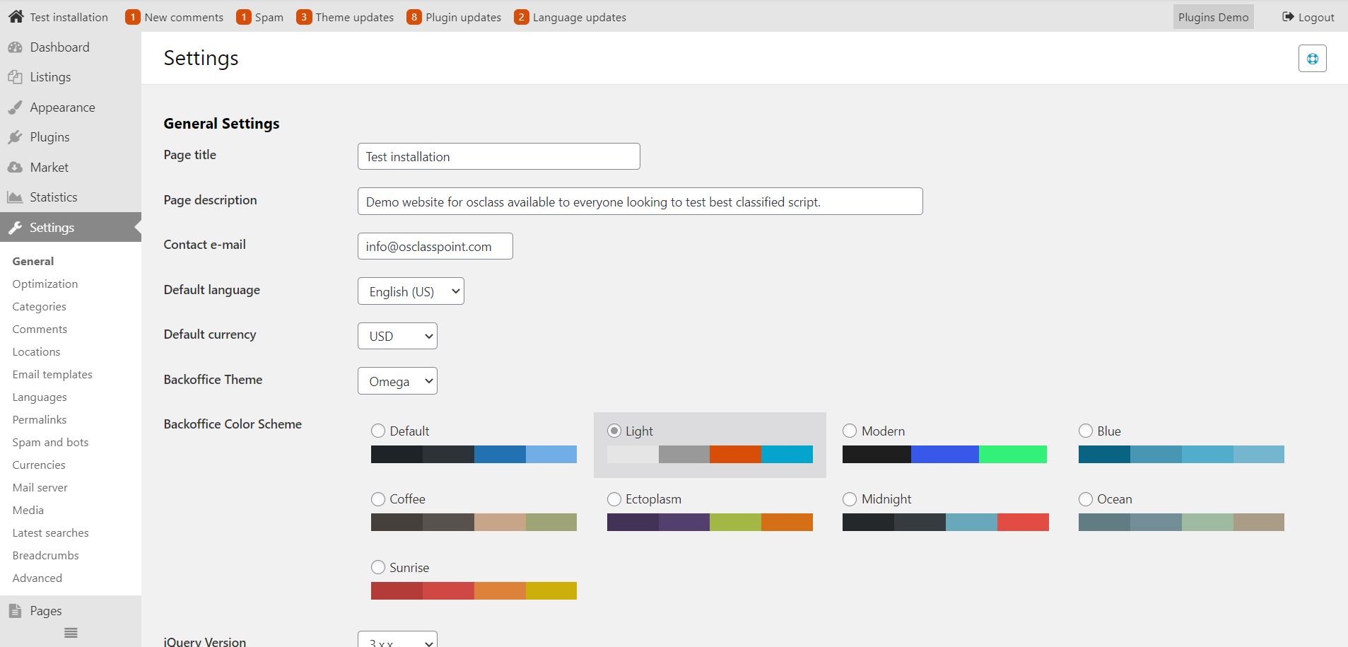 Light osclass admin color scheme