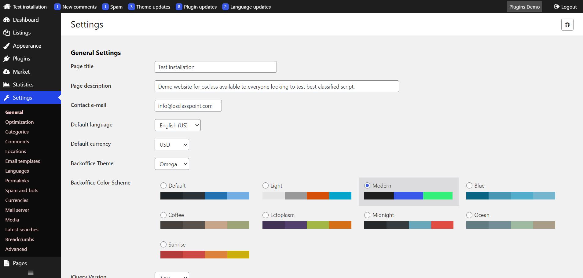 Modern osclass admin color scheme