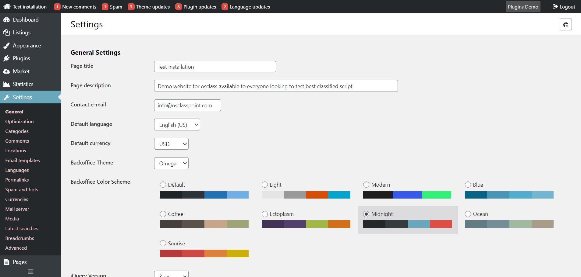 Midnight osclass admin color scheme