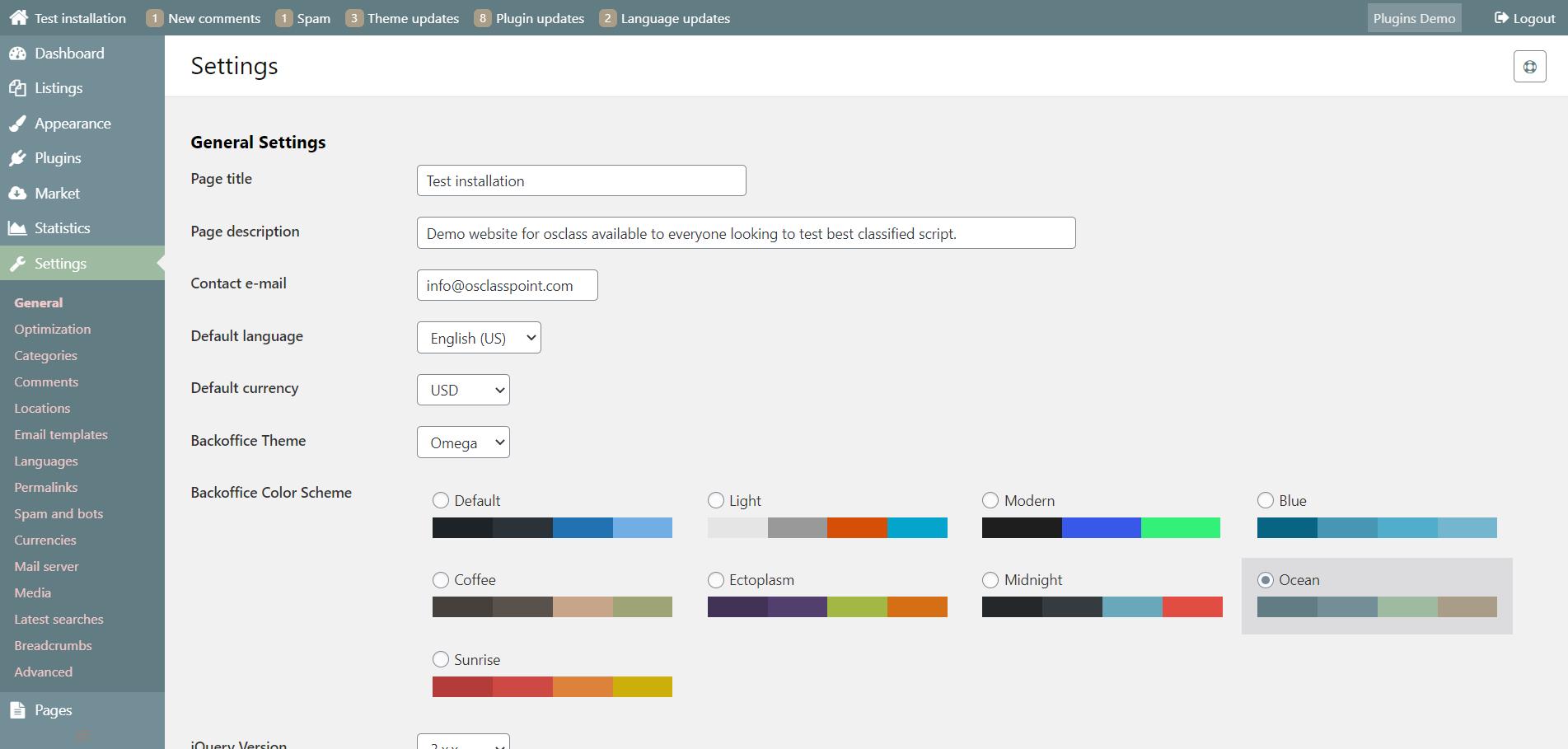 Ocean osclass admin color scheme