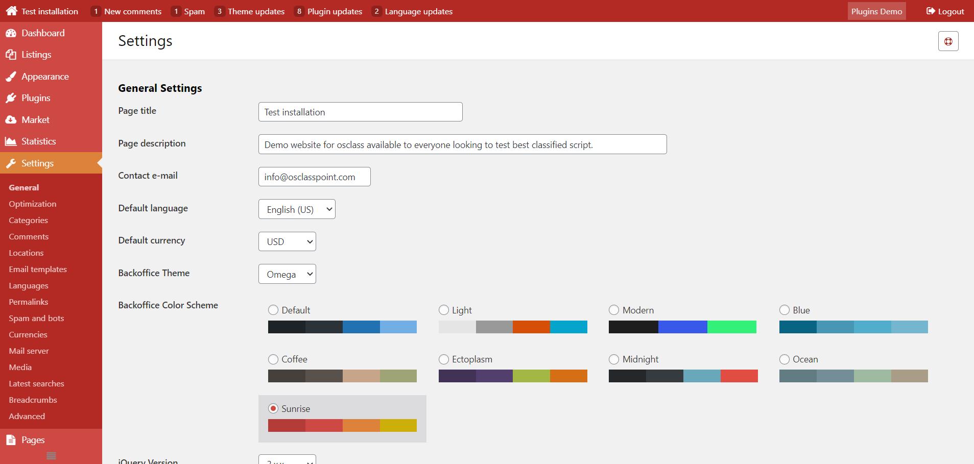 Sunrise osclass admin color scheme