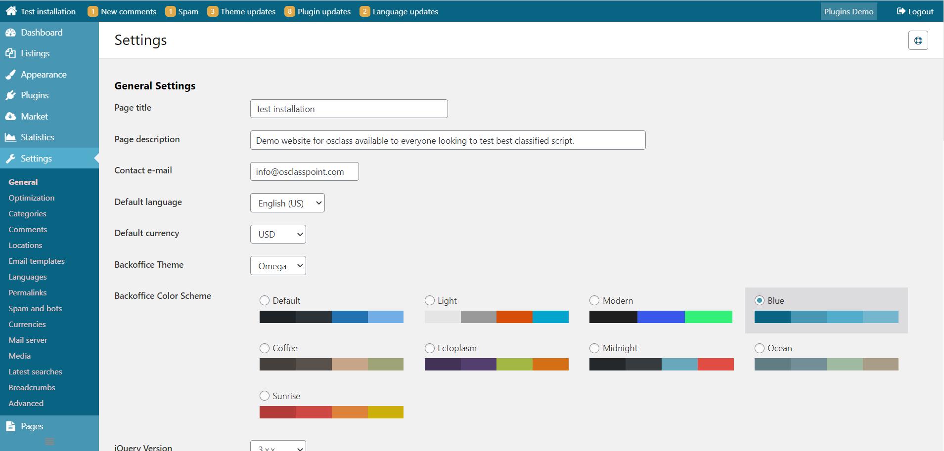 Blue osclass admin color scheme