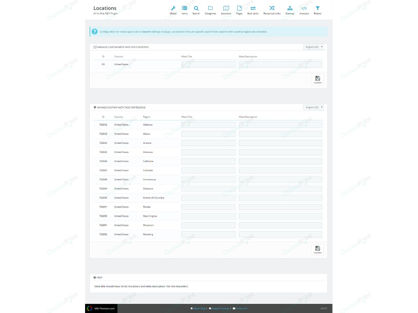 OsclassPoint.com - All in One SEO Plugin