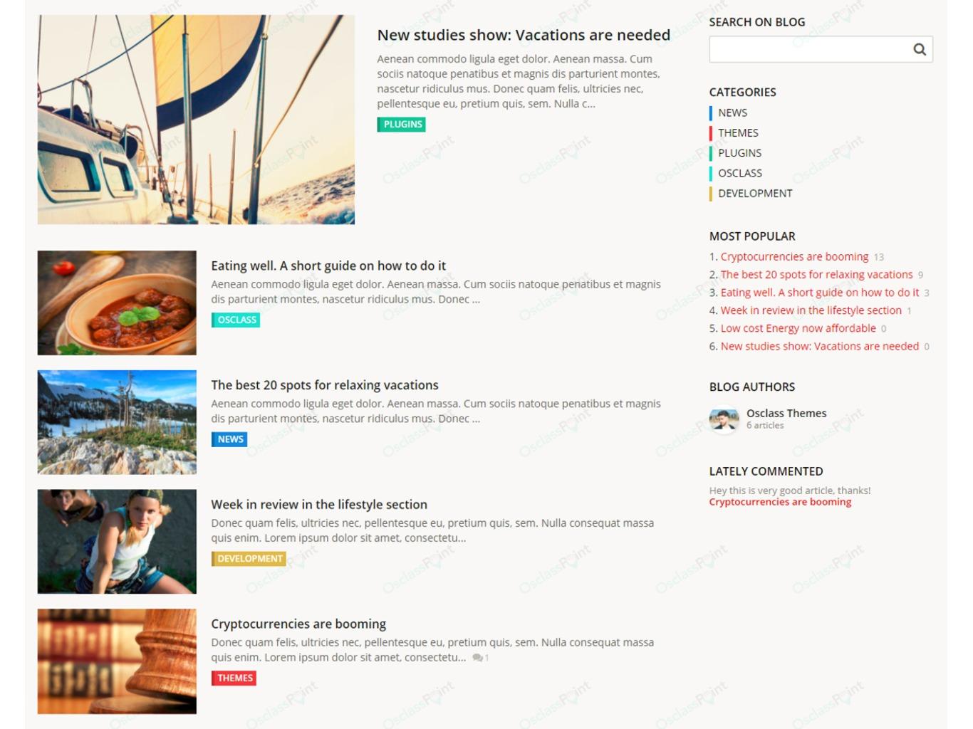 Osclass Blog and News Plugin - Messaging and Communication - Osclass plugins