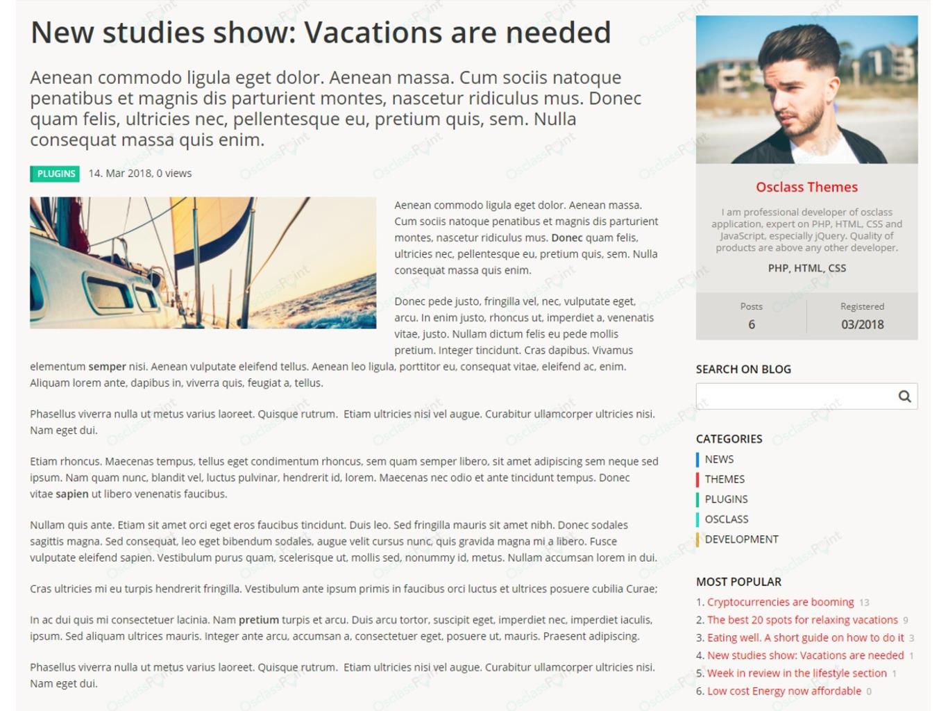 Osclass Blog and News Plugin - Osclass plugins - OsclassPoint.com