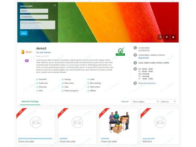 - Business Profile Osclass Plugin